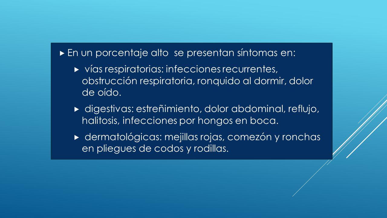  En un porcentaje alto se presentan síntomas en:  vías respiratorias: infecciones recurrentes, obstrucción respiratoria, ronquido al dormir, dolor de oído.