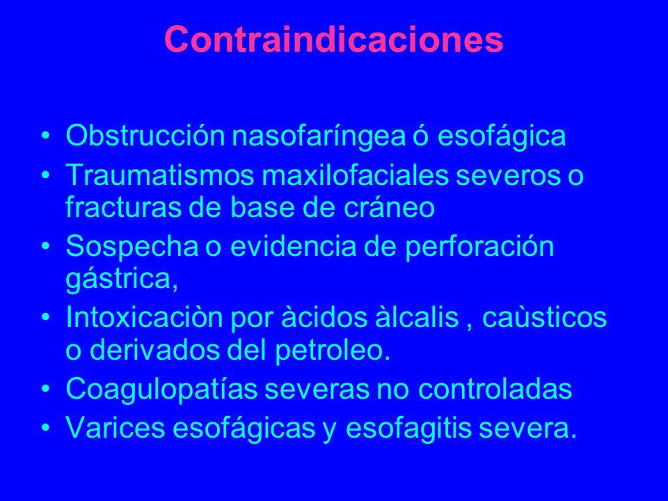 Contraindicaciones Obstrucción nasofaríngea ó esofágica Traumatismos maxilofaciales severos o fracturas de base de cráneo Sospecha o evidencia de perf