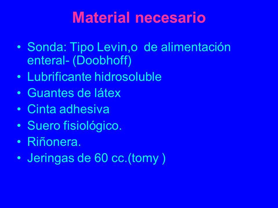 Material necesario Sonda: Tipo Levin,o de alimentación enteral- (Doobhoff) Lubrificante hidrosoluble Guantes de látex Cinta adhesiva Suero fisiológico