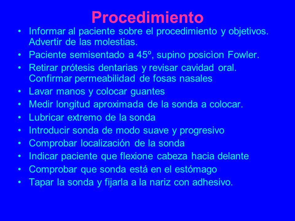Procedimiento Informar al paciente sobre el procedimiento y objetivos. Advertir de las molestias. Paciente semisentado a 45º, supino posicìon Fowler.