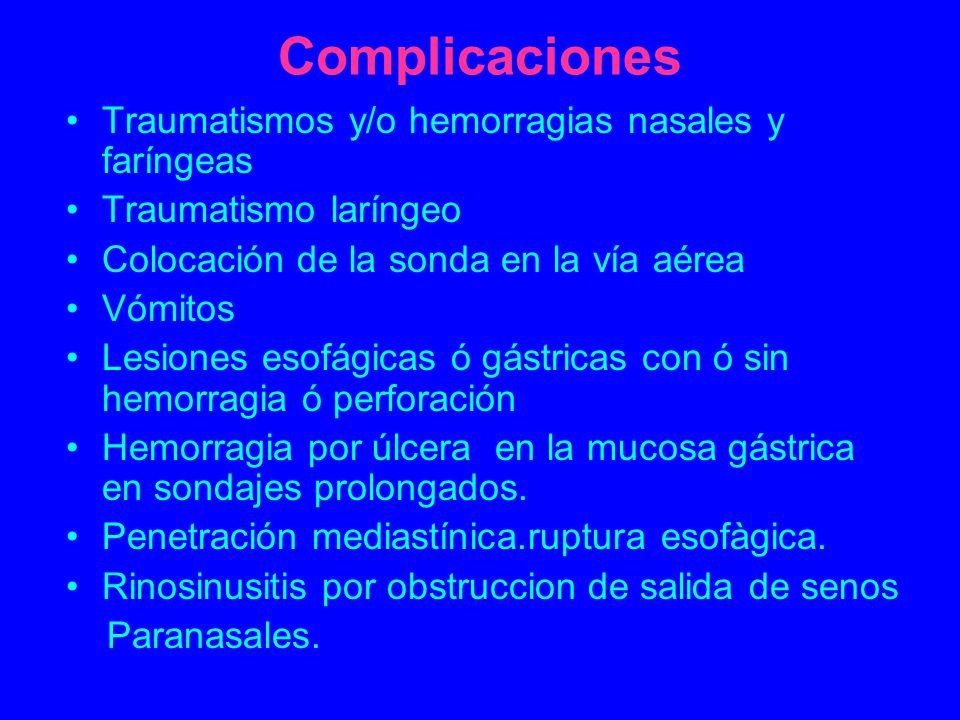 Complicaciones Traumatismos y/o hemorragias nasales y faríngeas Traumatismo laríngeo Colocación de la sonda en la vía aérea Vómitos Lesiones esofágica