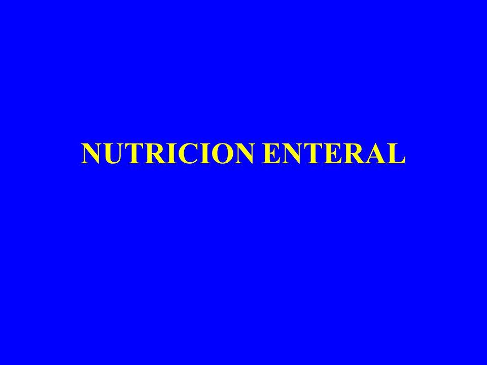 NUTRICIÓN ENTERAL administración, por vía digestiva, de una mezcla constante y conocida de nutrientes obtenidos industrialmente, mediante diversas transformaciones, a partir de los alimentos naturales.