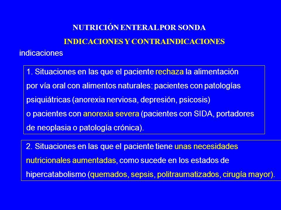 NUTRICIÓN ENTERAL POR SONDA INDICACIONES Y CONTRAINDICACIONES indicaciones 1.