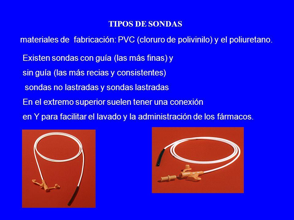 TIPOS DE SONDAS materiales de fabricación: PVC (cloruro de polivinilo) y el poliuretano.