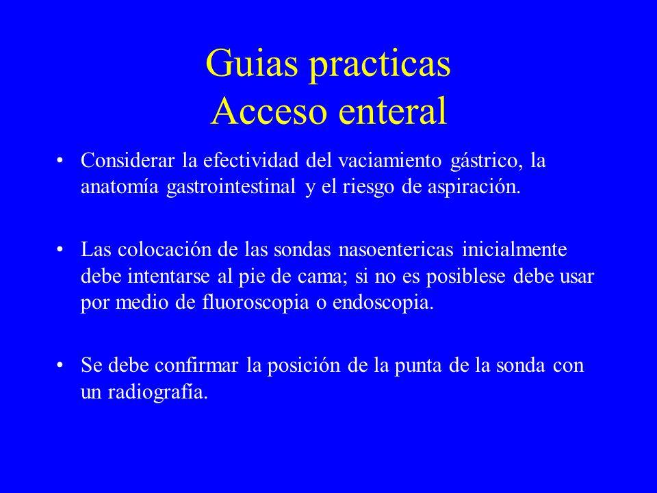 Guias practicas Acceso enteral Considerar la efectividad del vaciamiento gástrico, la anatomía gastrointestinal y el riesgo de aspiración.