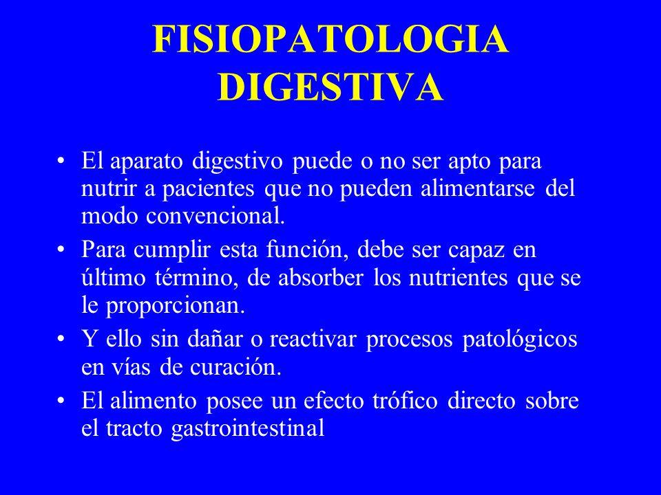 FISIOPATOLOGIA DIGESTIVA El aparato digestivo puede o no ser apto para nutrir a pacientes que no pueden alimentarse del modo convencional.