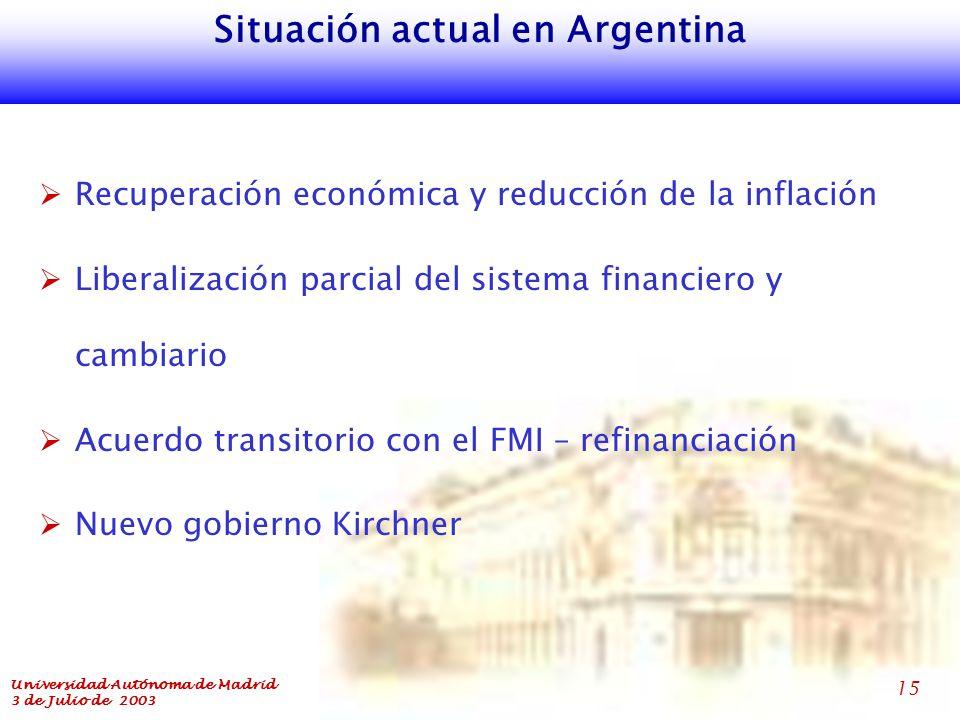 Universidad Autónoma de Madrid 3 de Julio de 2003 15 Situación actual en Argentina  Recuperación económica y reducción de la inflación  Liberalización parcial del sistema financiero y cambiario  Acuerdo transitorio con el FMI – refinanciación  Nuevo gobierno Kirchner