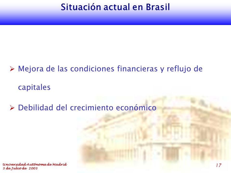 Universidad Autónoma de Madrid 3 de Julio de 2003 17 Situación actual en Brasil  Mejora de las condiciones financieras y reflujo de capitales  Debilidad del crecimiento económico