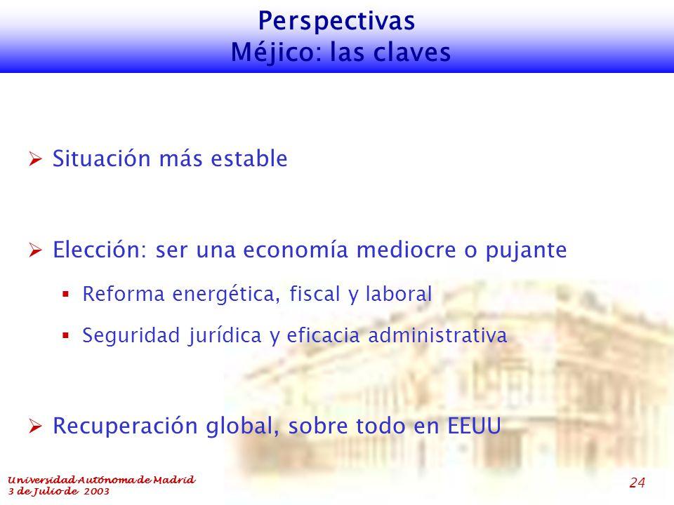 Universidad Autónoma de Madrid 3 de Julio de 2003 24 Perspectivas Méjico: las claves  Situación más estable  Elección: ser una economía mediocre o pujante  Reforma energética, fiscal y laboral  Seguridad jurídica y eficacia administrativa  Recuperación global, sobre todo en EEUU