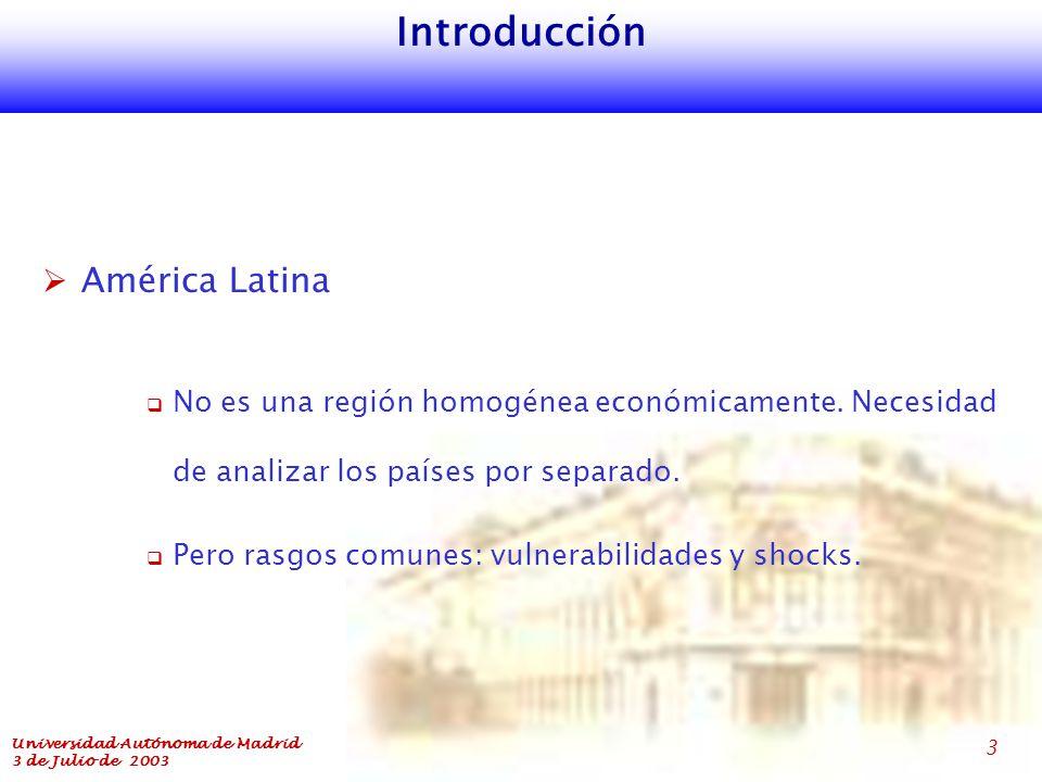 Universidad Autónoma de Madrid 3 de Julio de 2003 3 Introducción  América Latina  No es una región homogénea económicamente.