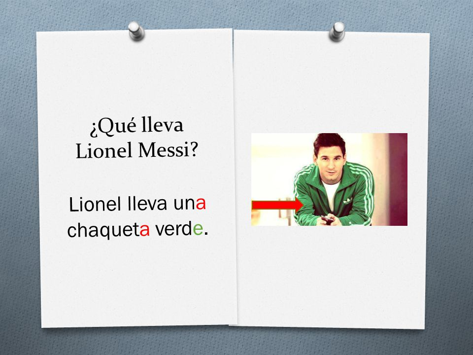 ¿Qué lleva Lionel Messi Lionel lleva una chaqueta verde.