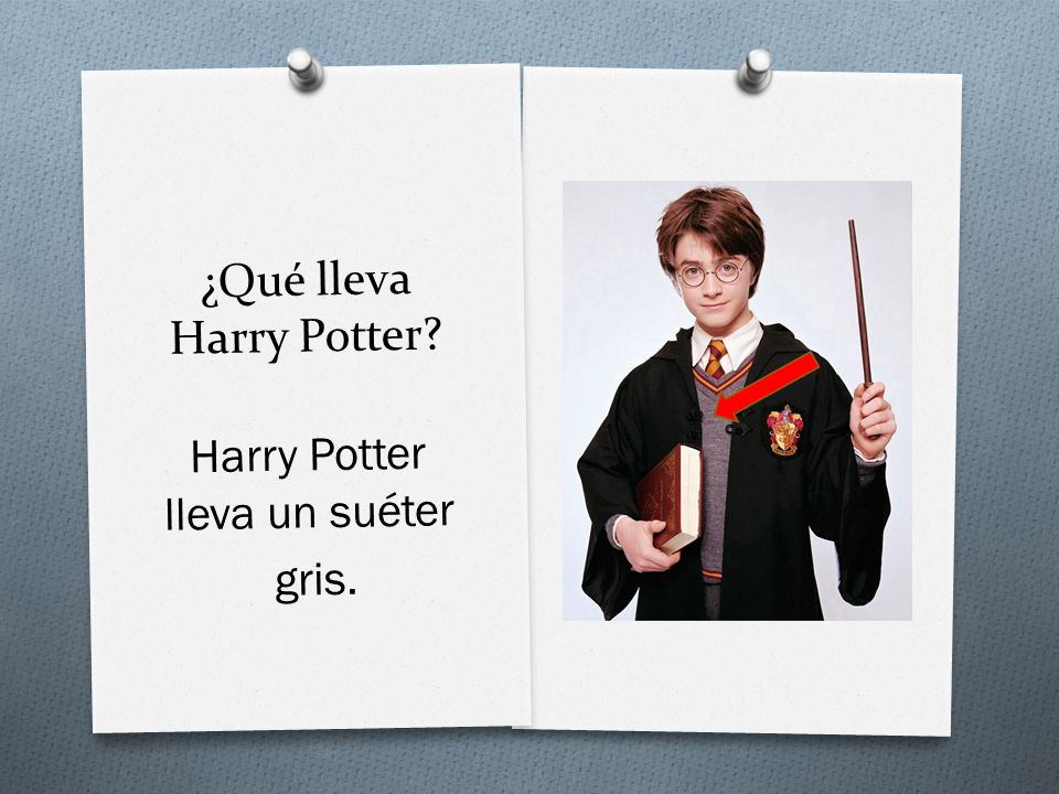 ¿Qué lleva Harry Potter Harry Potter lleva un suéter gris.