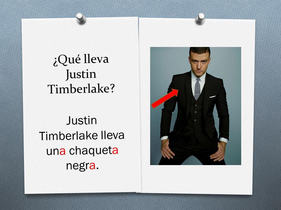 ¿Qué lleva Justin Timberlake Justin Timberlake lleva una chaqueta negra.
