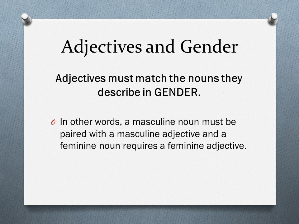 Adjectives and Gender Adjectives must match the nouns they describe in GENDER.