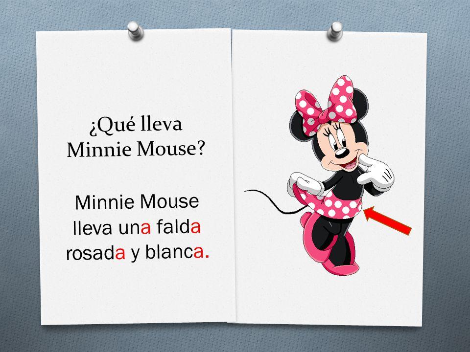 ¿Qué lleva Minnie Mouse Minnie Mouse lleva una falda rosada y blanca.