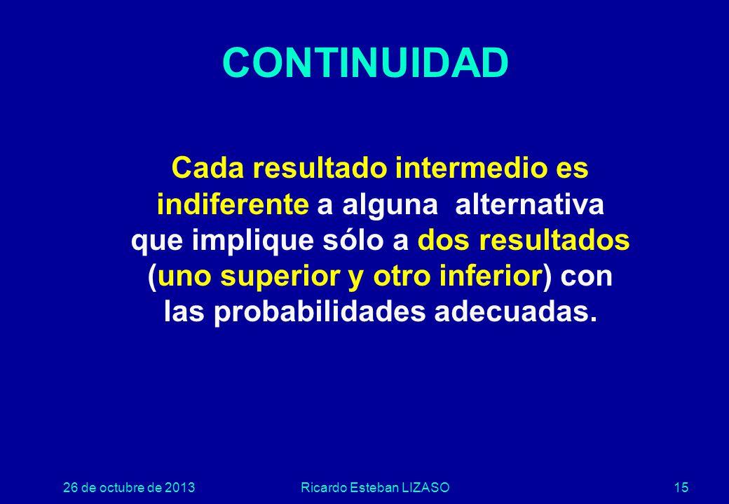 26 de octubre de 2013Ricardo Esteban LIZASO15 CONTINUIDAD Cada resultado intermedio es indiferente a alguna alternativa que implique sólo a dos resultados (uno superior y otro inferior) con las probabilidades adecuadas.
