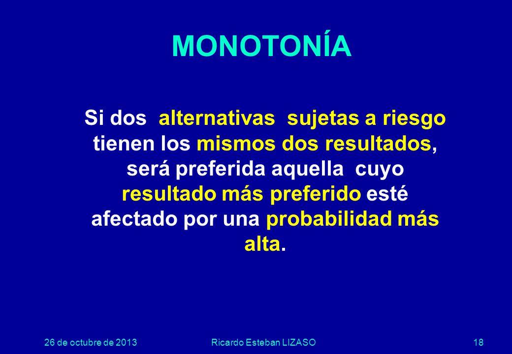 26 de octubre de 2013Ricardo Esteban LIZASO18 MONOTONÍA Si dos alternativas sujetas a riesgo tienen los mismos dos resultados, será preferida aquella cuyo resultado más preferido esté afectado por una probabilidad más alta.