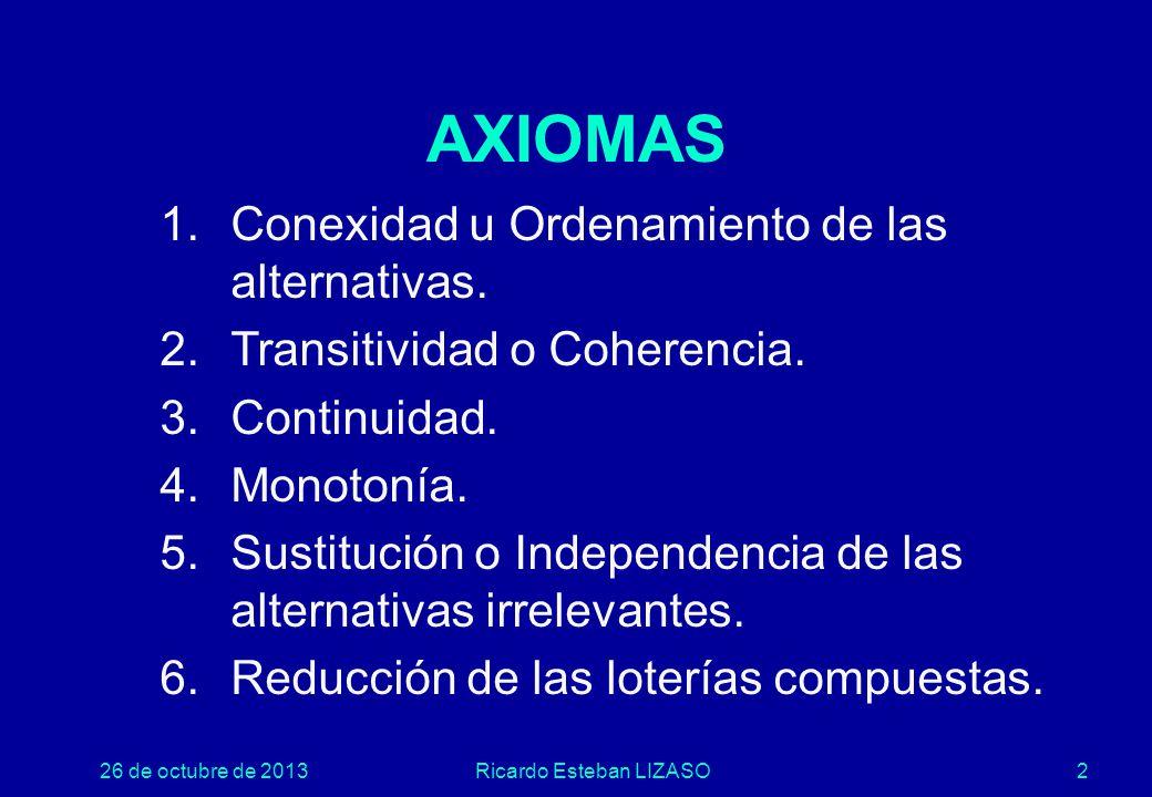 26 de octubre de 2013Ricardo Esteban LIZASO2 AXIOMAS 1.Conexidad u Ordenamiento de las alternativas.