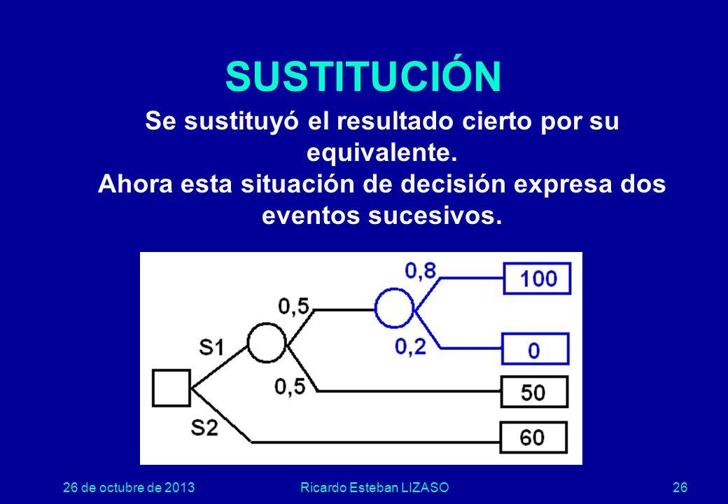 26 de octubre de 2013Ricardo Esteban LIZASO26 SUSTITUCIÓN Se sustituyó el resultado cierto por su equivalente.