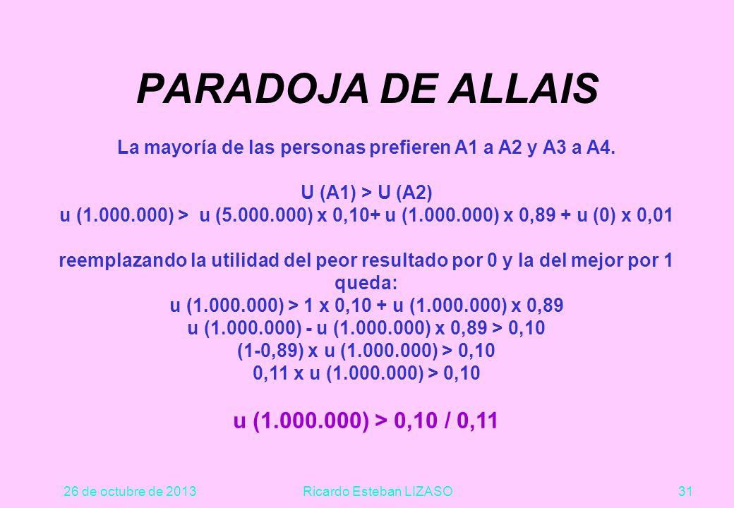 26 de octubre de 2013Ricardo Esteban LIZASO31 PARADOJA DE ALLAIS La mayoría de las personas prefieren A1 a A2 y A3 a A4.