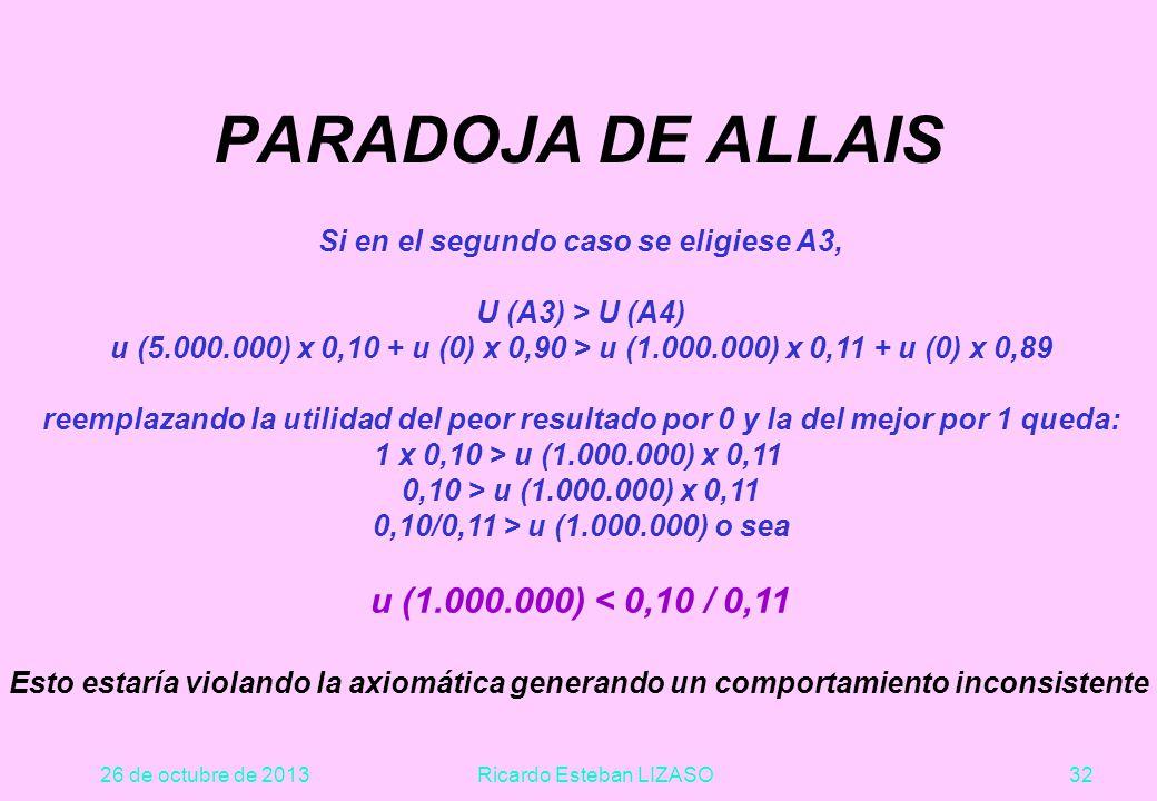26 de octubre de 2013Ricardo Esteban LIZASO32 PARADOJA DE ALLAIS Si en el segundo caso se eligiese A3, U (A3) > U (A4) u (5.000.000) x 0,10 + u (0) x 0,90 > u (1.000.000) x 0,11 + u (0) x 0,89 reemplazando la utilidad del peor resultado por 0 y la del mejor por 1 queda: 1 x 0,10 > u (1.000.000) x 0,11 0,10 > u (1.000.000) x 0,11 0,10/0,11 > u (1.000.000) o sea u (1.000.000) < 0,10 / 0,11 Esto estaría violando la axiomática generando un comportamiento inconsistente