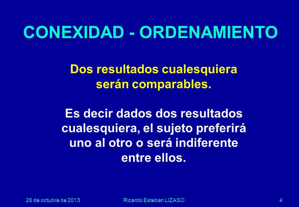 26 de octubre de 2013Ricardo Esteban LIZASO4 CONEXIDAD - ORDENAMIENTO Dos resultados cualesquiera serán comparables.
