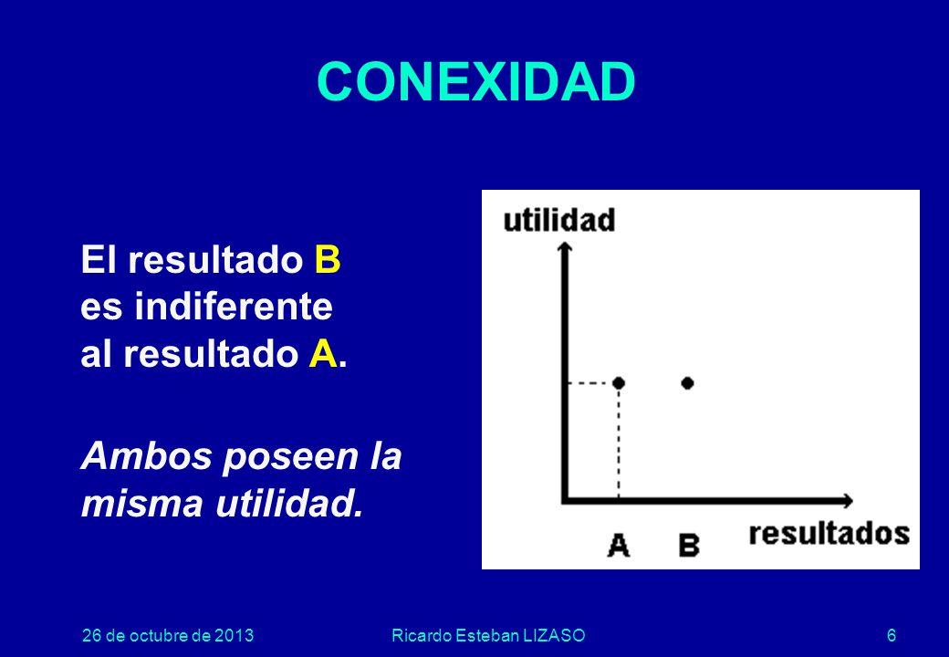 26 de octubre de 2013Ricardo Esteban LIZASO6 CONEXIDAD El resultado B es indiferente al resultado A.