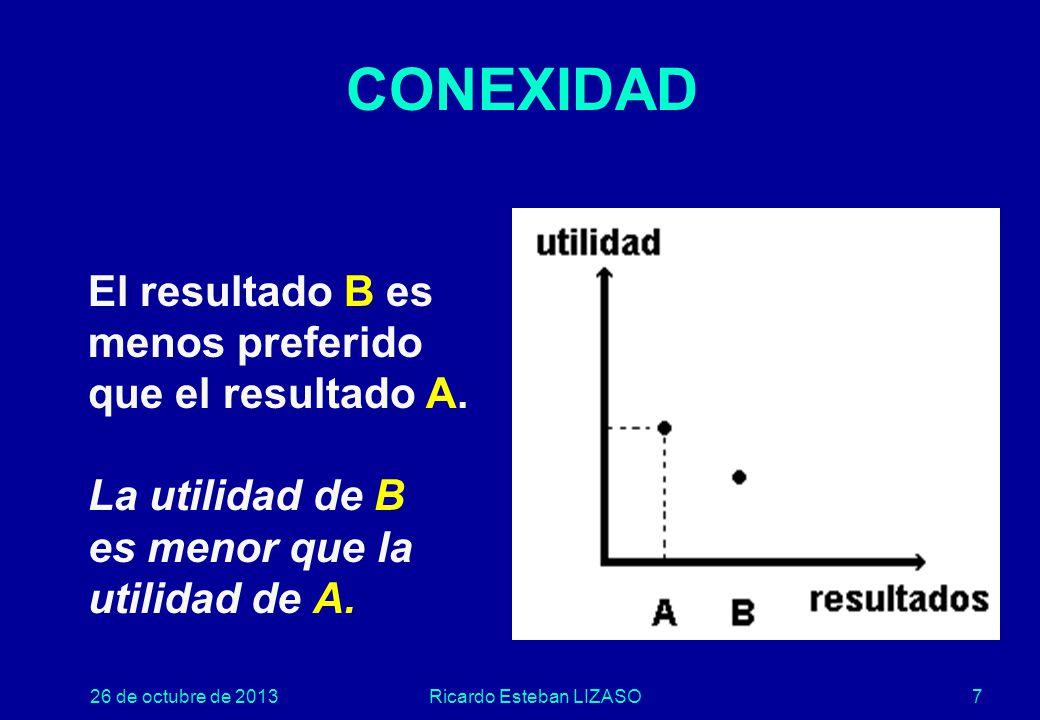 26 de octubre de 2013Ricardo Esteban LIZASO7 CONEXIDAD El resultado B es menos preferido que el resultado A.