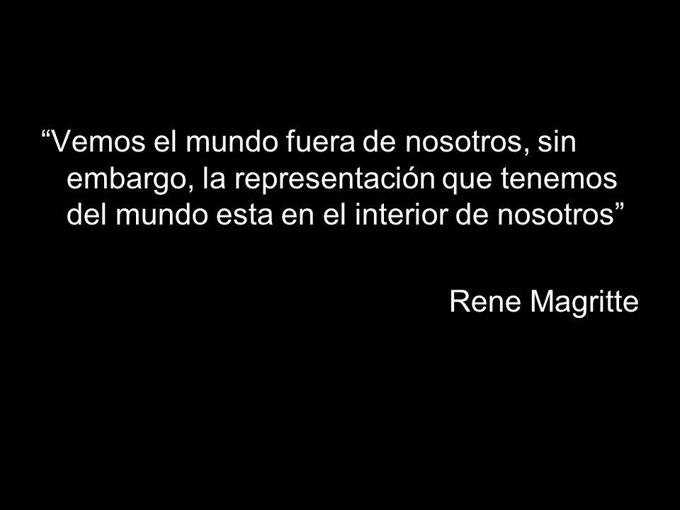Vemos el mundo fuera de nosotros, sin embargo, la representación que tenemos del mundo esta en el interior de nosotros Rene Magritte