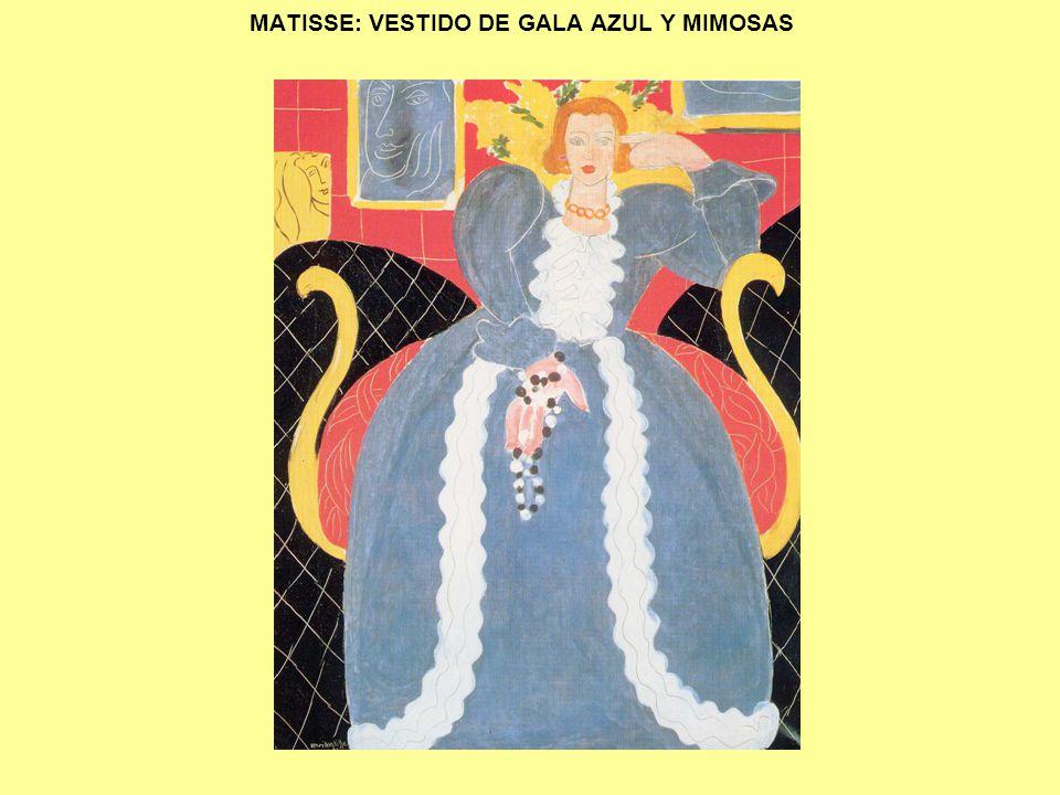 MATISSE: VESTIDO DE GALA AZUL Y MIMOSAS