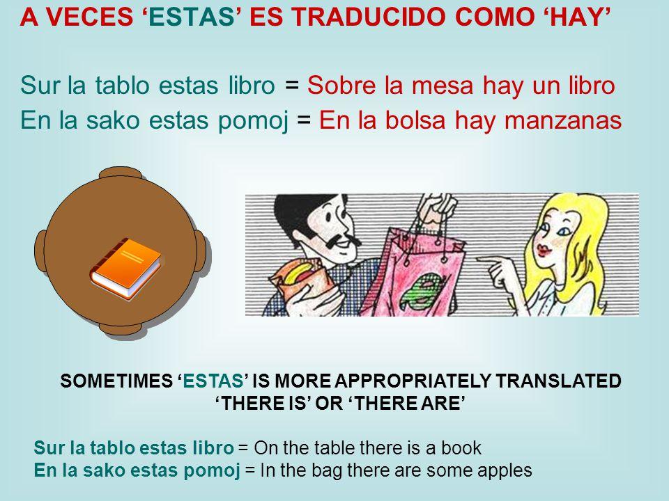A VECES 'ESTAS' ES TRADUCIDO COMO 'HAY' Sur la tablo estas libro = Sobre la mesa hay un libro En la sako estas pomoj = En la bolsa hay manzanas SOMETIMES 'ESTAS' IS MORE APPROPRIATELY TRANSLATED 'THERE IS' OR 'THERE ARE' Sur la tablo estas libro = On the table there is a book En la sako estas pomoj = In the bag there are some apples