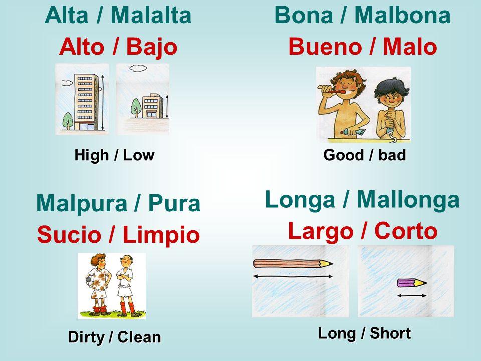 Alta / Malalta Alto / Bajo High / Low Bona / Malbona Bueno / Malo Good / bad Malpura / Pura Sucio / Limpio Dirty / Clean Longa / Mallonga Largo / Corto Long / Short