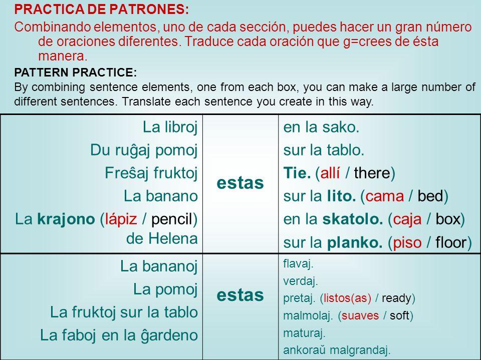 PRACTICA DE PATRONES: Combinando elementos, uno de cada sección, puedes hacer un gran número de oraciones diferentes.