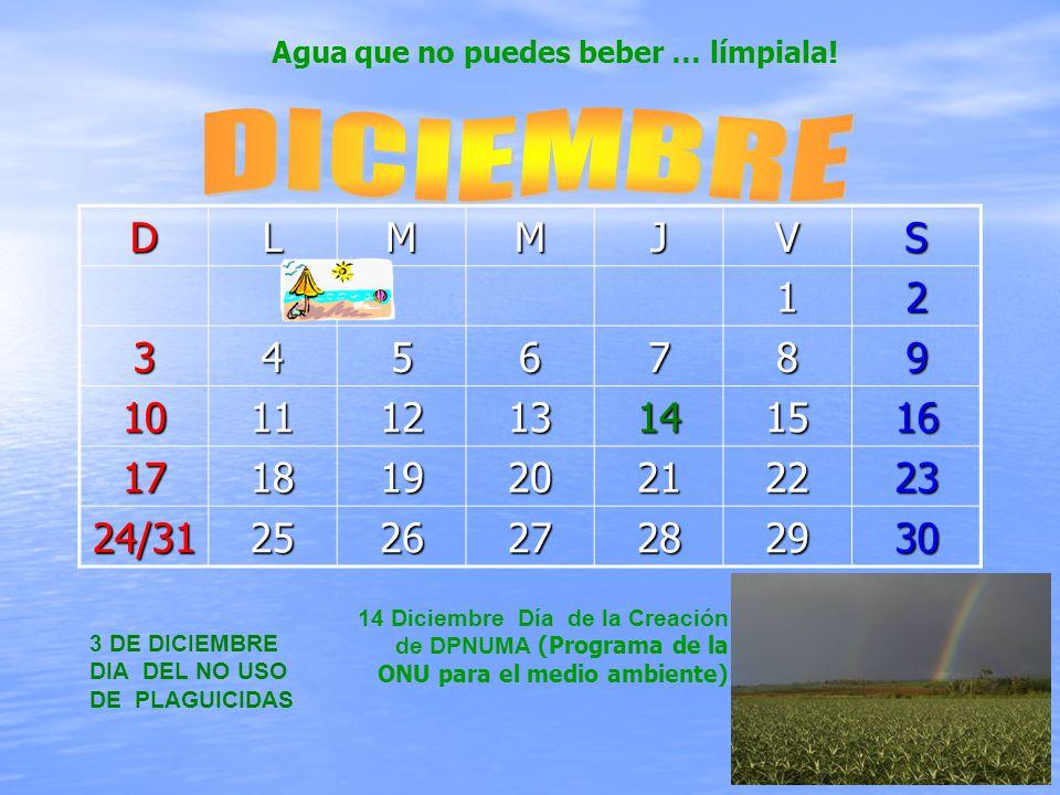 DLMMJVS12 3456789 10111213141516 17181920212223 24/31252627282930 3 DE DICIEMBRE DIA DEL NO USO DE PLAGUICIDAS 14 Diciembre Día de la Creación de DPNUMA (Programa de la ONU para el medio ambiente) Agua que no puedes beber … límpiala!