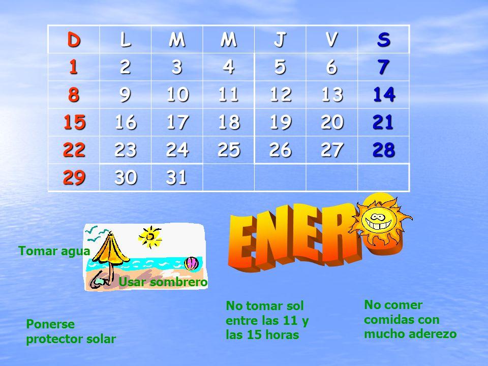 DLMMJVS1234567 891011121314 15161718192021 22232425262728 293031 Tomar agua Usar sombrero No tomar sol entre las 11 y las 15 horas Ponerse protector solar No comer comidas con mucho aderezo