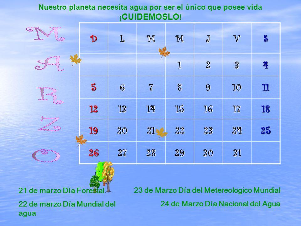 DLMMJVS1234 567891011 12131415161718 19202122232425 262728293031 21 de marzo Día Forestal 22 de marzo Día Mundial del agua 23 de Marzo Día del Metereologico Mundial 24 de Marzo Día Nacional del Agua Nuestro planeta necesita agua por ser el único que posee vida ¡ CUIDEMOSLO !
