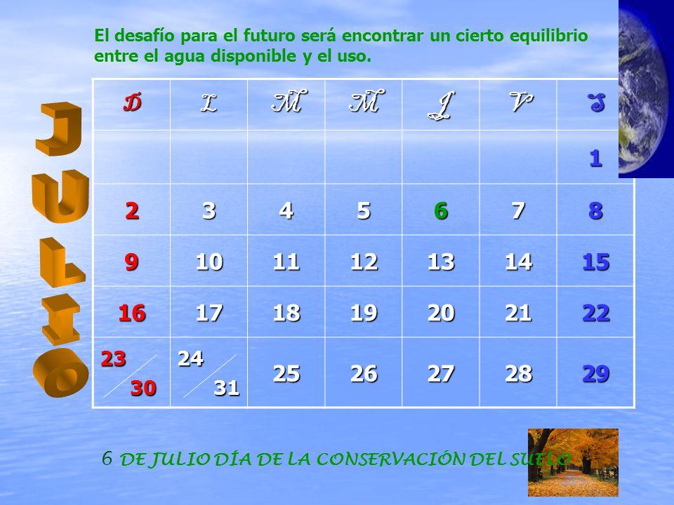 DLMMJVS1 2345678 9101112131415 16171819202122 23 30 3024 31 312526272829 6 DE JULIO DÍA DE LA CONSERVACIÓN DEL SUELO El desafío para el futuro será encontrar un cierto equilibrio entre el agua disponible y el uso.