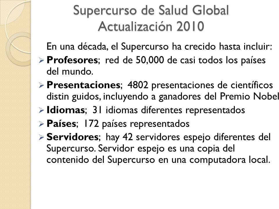 Supercurso de Salud Global Actualización 2010 En una década, el Supercurso ha crecido hasta incluir:  Profesores; red de 50,000 de casi todos los países del mundo.