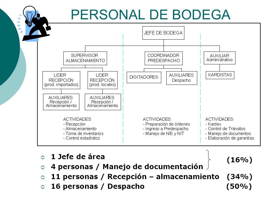 PERSONAL DE BODEGA  1 Jefe de área  4 personas / Manejo de documentación  11 personas / Recepción – almacenamiento (34%)  16 personas / Despacho (50%) (16%)