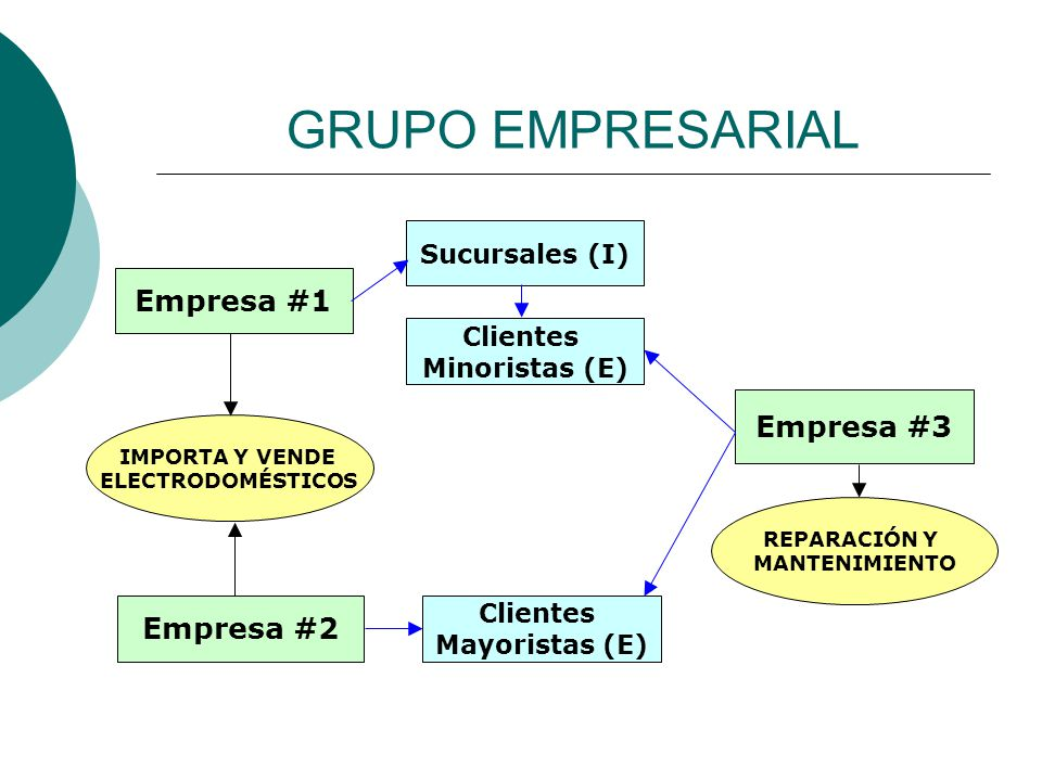 GRUPO EMPRESARIAL Empresa #1 Empresa #2 Empresa #3 IMPORTA Y VENDE ELECTRODOMÉSTICOS REPARACIÓN Y MANTENIMIENTO Clientes Minoristas (E) Sucursales (I) Clientes Mayoristas (E)