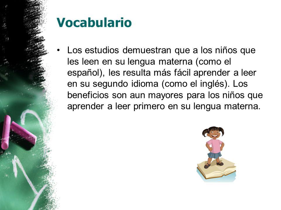Vocabulario Se refiere a las palabras que debemos conocer para poder comunicarnos efectivamente.