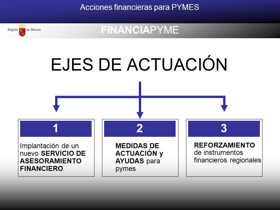 EJES DE ACTUACIÓN Acciones financieras para PYMES FINANCIAPYME Implantación de un nuevo SERVICIO DE ASESORAMIENTO FINANCIERO MEDIDAS DE ACTUACIÓN y AYUDAS para pymes 2 REFORZAMIENTO de instrumentos financieros regionales 13