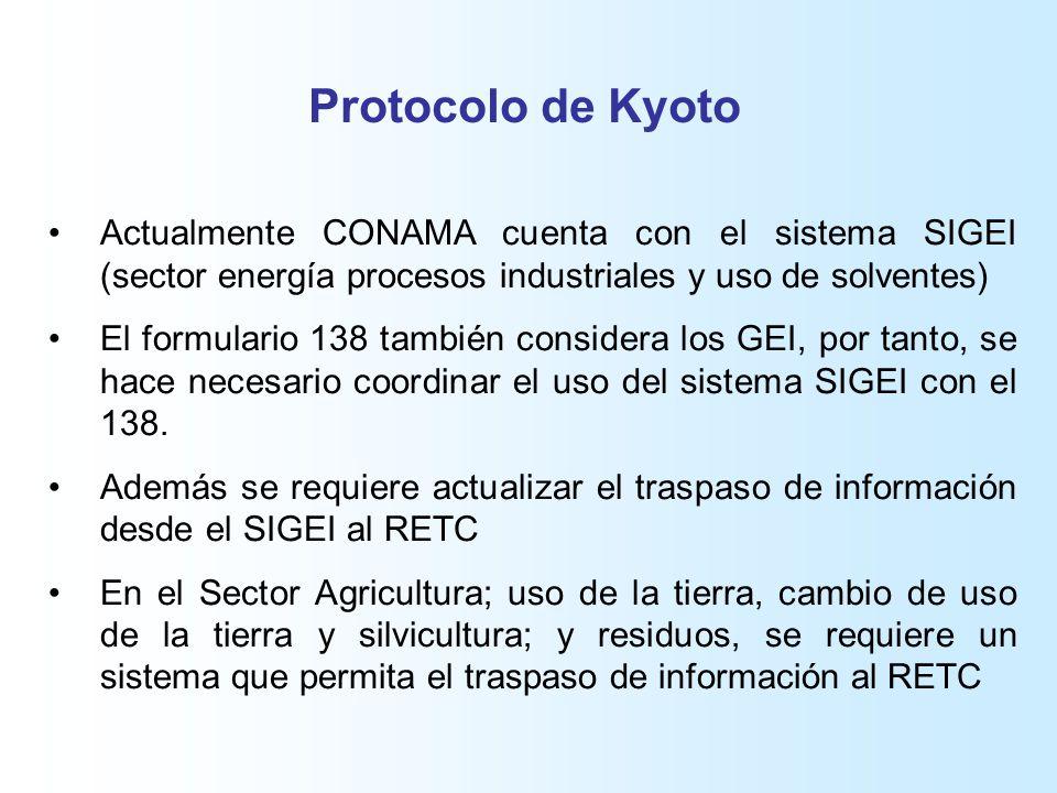 Protocolo de Kyoto Actualmente CONAMA cuenta con el sistema SIGEI (sector energía procesos industriales y uso de solventes) El formulario 138 también considera los GEI, por tanto, se hace necesario coordinar el uso del sistema SIGEI con el 138.