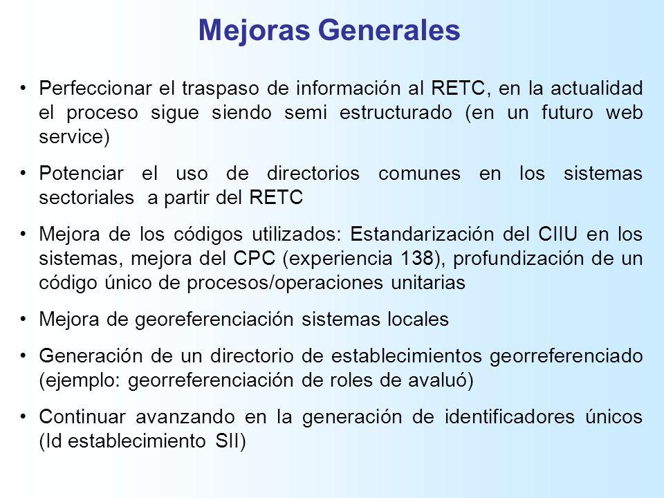 Mejoras Generales Perfeccionar el traspaso de información al RETC, en la actualidad el proceso sigue siendo semi estructurado (en un futuro web service) Potenciar el uso de directorios comunes en los sistemas sectoriales a partir del RETC Mejora de los códigos utilizados: Estandarización del CIIU en los sistemas, mejora del CPC (experiencia 138), profundización de un código único de procesos/operaciones unitarias Mejora de georeferenciación sistemas locales Generación de un directorio de establecimientos georreferenciado (ejemplo: georreferenciación de roles de avaluó) Continuar avanzando en la generación de identificadores únicos (Id establecimiento SII)