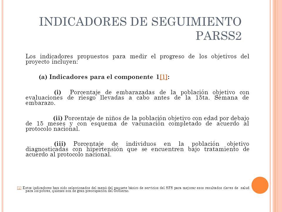 INDICADORES DE SEGUIMIENTO PARSS2 Los indicadores propuestos para medir el progreso de los objetivos del proyecto incluyen: (a) Indicadores para el componente 1[1]:[1] (i) Porcentaje de embarazadas de la población objetivo con evaluaciones de riesgo llevadas a cabo antes de la 15ta.