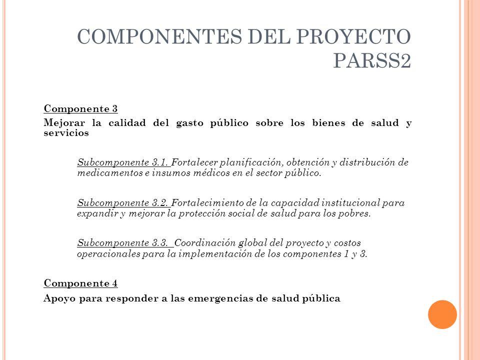COMPONENTES DEL PROYECTO PARSS2 Componente 3 Mejorar la calidad del gasto público sobre los bienes de salud y servicios Subcomponente 3.1.