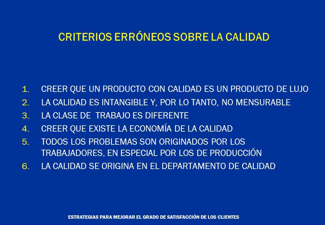 ESTRATEGIAS PARA MEJORAR EL GRADO DE SATISFACCIÓN DE LOS CLIENTES CRITERIOS ERRÓNEOS SOBRE LA CALIDAD 1.CREER QUE UN PRODUCTO CON CALIDAD ES UN PRODUCTO DE LUJO 2.LA CALIDAD ES INTANGIBLE Y, POR LO TANTO, NO MENSURABLE 3.LA CLASE DE TRABAJO ES DIFERENTE 4.CREER QUE EXISTE LA ECONOMÍA DE LA CALIDAD 5.TODOS LOS PROBLEMAS SON ORIGINADOS POR LOS TRABAJADORES, EN ESPECIAL POR LOS DE PRODUCCIÓN 6.LA CALIDAD SE ORIGINA EN EL DEPARTAMENTO DE CALIDAD