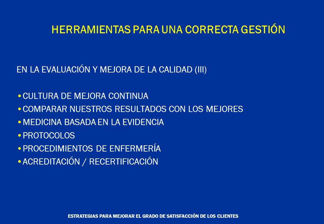 ESTRATEGIAS PARA MEJORAR EL GRADO DE SATISFACCIÓN DE LOS CLIENTES HERRAMIENTAS PARA UNA CORRECTA GESTIÓN EN LA EVALUACIÓN Y MEJORA DE LA CALIDAD (III) CULTURA DE MEJORA CONTINUA COMPARAR NUESTROS RESULTADOS CON LOS MEJORES MEDICINA BASADA EN LA EVIDENCIA PROTOCOLOS PROCEDIMIENTOS DE ENFERMERÍA ACREDITACIÓN / RECERTIFICACIÓN