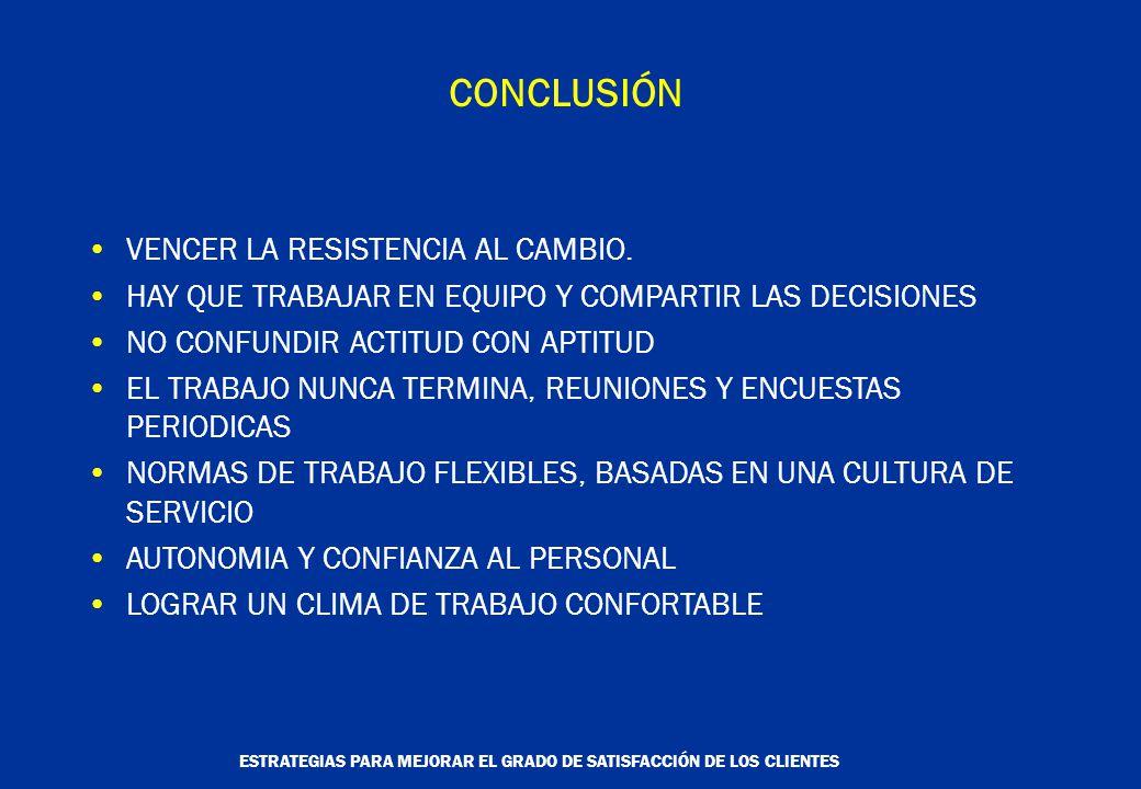 ESTRATEGIAS PARA MEJORAR EL GRADO DE SATISFACCIÓN DE LOS CLIENTES CONCLUSIÓN VENCER LA RESISTENCIA AL CAMBIO.