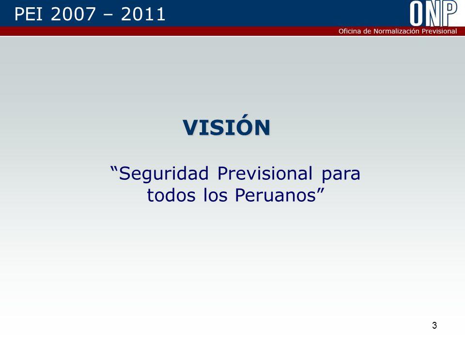 3 VISIÓN Seguridad Previsional para todos los Peruanos PEI 2007 – 2011